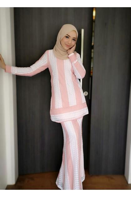 (BK688) Baju Mini Kurung Moden Lace ( BabyBlue / Dusty Pink / Grey / Nude )